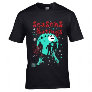 Premium Funny Joke Seasons Eatings Christmas Zombie Walker Retro B-Movie Style Motif Men's T-shirt